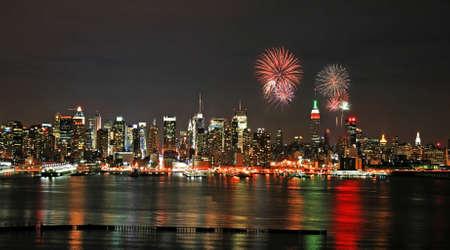 Mid-town Manhattan skyline at night - a firework illustration illustration