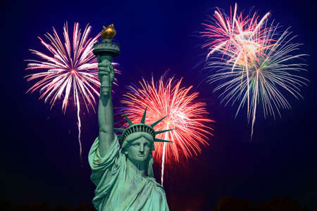 The Statue of Liberty and fireworks - an illustration illustration
