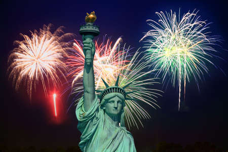 fourth of july: The Statue of Liberty and fireworks - an illustration