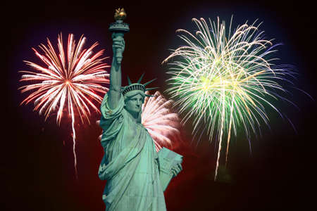 The Statue of Liberty and fireworks - an illustration