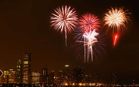 Chicago Skyline at night - with firework illustration     Stock Photo