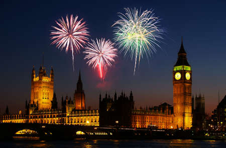 Big Ben in London - with a firework illustration    illustration