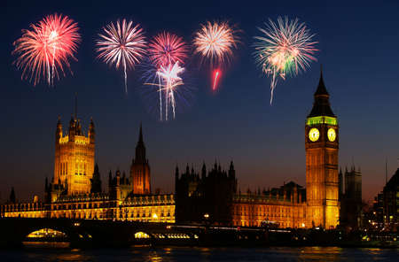 Big Ben in London - with a firework illustration    Stockfoto