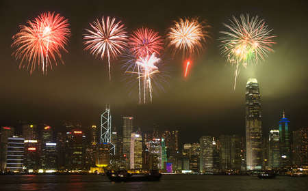 Hong Kong skyline with a firework illustration     Stock Photo