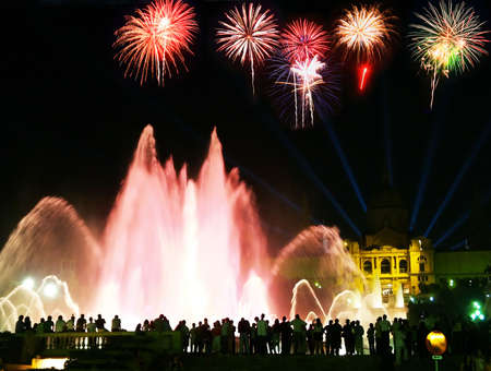 montjuic: The famous Montjuic Fountain in Barcelona with a firework illustration