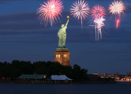 The Statue of Liberty with firework illustration Stock Photo