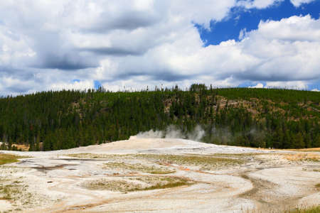 The scenery at Upper Geyser Basin in Yellowstone National Park  Imagens