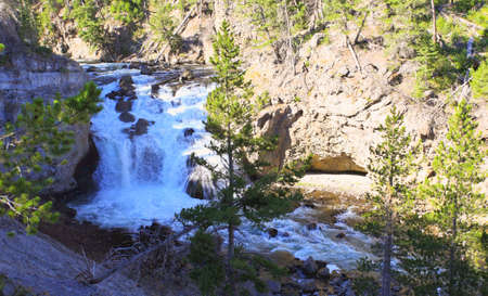 lower yellowstone falls: The Firehole Falls in the Yellowstone National Park