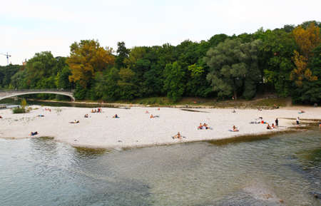 People relaxing at beach of a river in Munich Stok Fotoğraf - 3632074