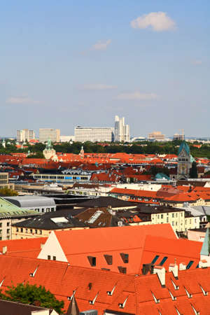 The aerial view of Munich city center from the tower of the City Hall Stok Fotoğraf - 3645385