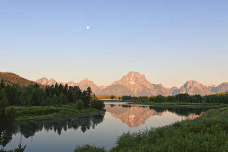 oxbow: The Oxbow Bend Turnout Area in Grand Teton National Park in the morning light