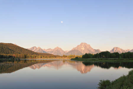 turnout: The Oxbow Bend Turnout Area in Grand Teton National Park in the morning light