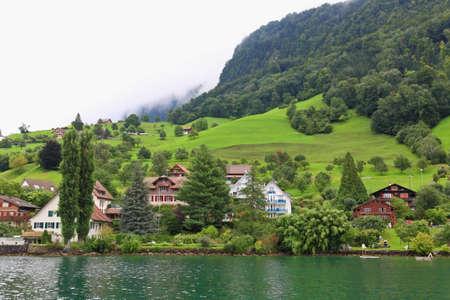 The small village on the hills around Lake Luzern in Switzerland   photo