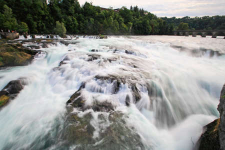 The Europe largest falls Rhine Falls in Switzerland using slow shutter speed photography
