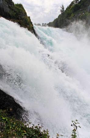 The Europe largest falls Rhine Falls in Switzerland  Stock Photo