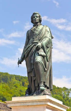 mozart: The statue of Mozart in the Mozart Square in Salzburg, Austria