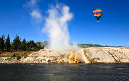 The scenery at Midway Geyser Basin in Yellowstone National Park photo