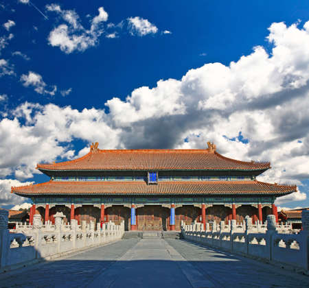 The emperor?s palace for daily business in the historical Forbidden City in Beijing photo