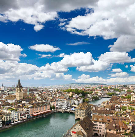 grossmunster cathedral: The aerial view of Zurich cityscape, Switzerland