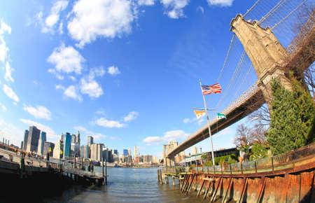 distortion: The Brooklyn bridge in New York City in fisheye