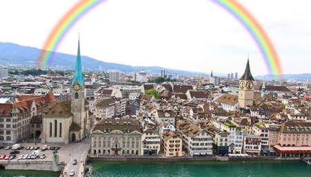 The cityscape of Zurich city in Switzerland  Stock fotó