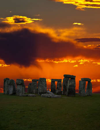 sunligh: The famous Stonehenge in England on a sunrise background