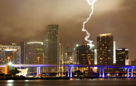 The skyline of Miami City at a stormy night