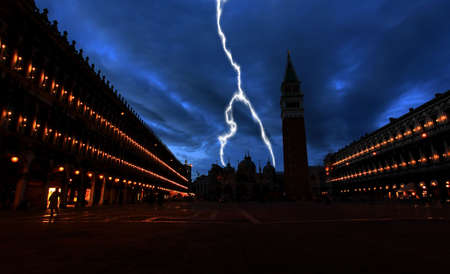 The night scene of San Marco Plaza in Venice Italy photo