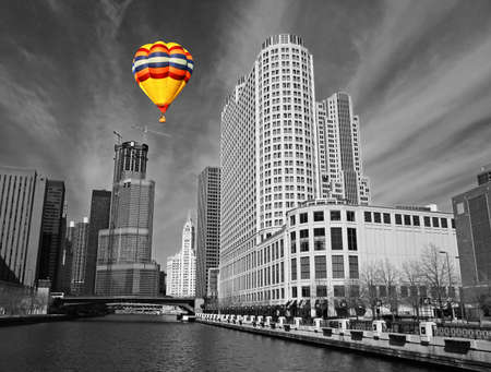 illinois river: The Chicago skyline in a classic black and white format Stock Photo