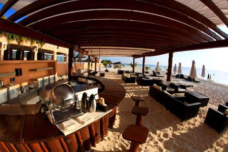 inclusive: a luxury all inclusive beach resort at night in Cancun Mexico