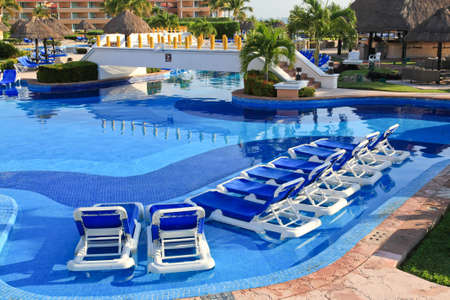 inclusive: a luxury all inclusive beach resort at morning in Cancun Mexico Editorial
