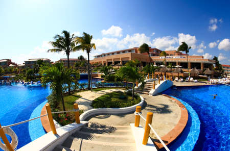 a fish-eye view of a luxury all inclusive beach resort in Cancun Mexico