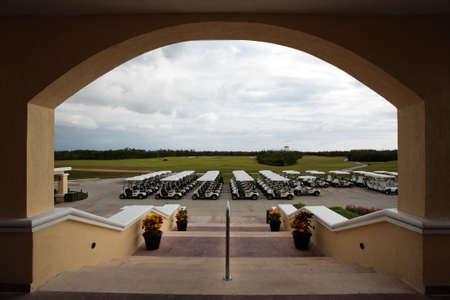 golf carts in a Cancun resort, a fisheye view