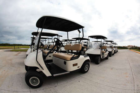 golf carts in a Cancun resort, a fisheye view photo
