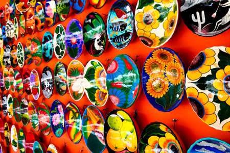 Mexican decoration plates in a Mayan souvenir shop Stock Photo - 4537665