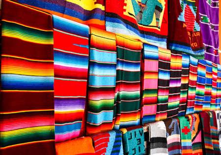 Mayan Blankets hanging at a Mayan souvenir shop