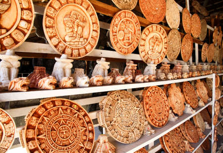 Mexican decoration plates in a Mayan souvenir shop photo