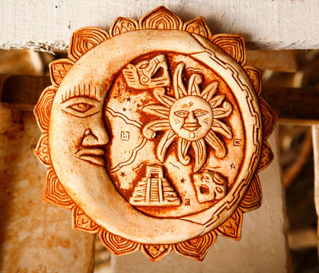 Mexican decoration plates in a Mayan souvenir shop Stock Photo
