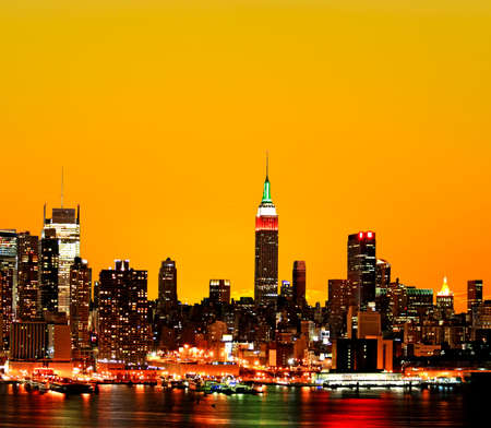 The New York City midtown skyline at sunrise