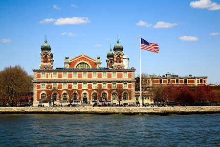 The main immigration building on Ellis Island in New York harbor