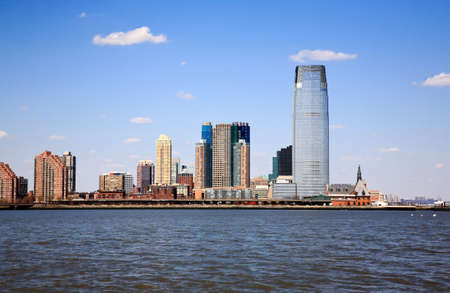 modern high-rise office buildings facing Manhattan in New Jersey