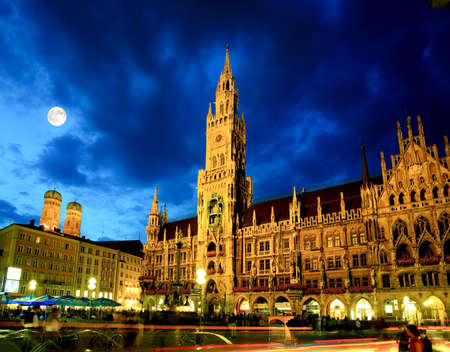 The night scene of town hall at the Marienplatz in Munich Stok Fotoğraf - 4759569