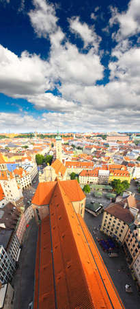 The aerial view of Munich city center from the tower of the Peterskirche Stok Fotoğraf - 4759572