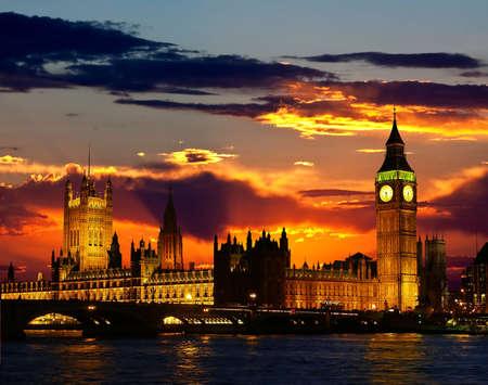 londre nuit: L'�difice du Parlement - Big Ben, Londres