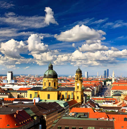 frauenkirche: The aerial view of Munich city center from the tower of the Peterskirche