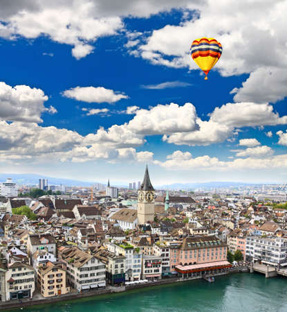 grossmunster cathedral: The aerial view of Zurich cityscape from the tower of famous Grossmunster Cathedral  Stock Photo