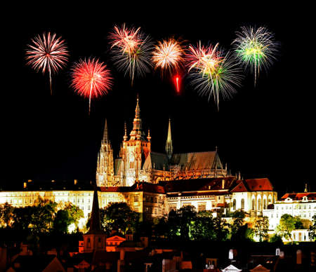 The night view of the beautiful Prague City along the River Vltava photo