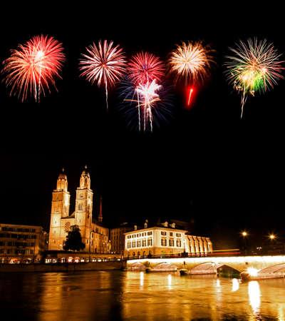 The night view of major landmarks in Zurich Switzerland photo