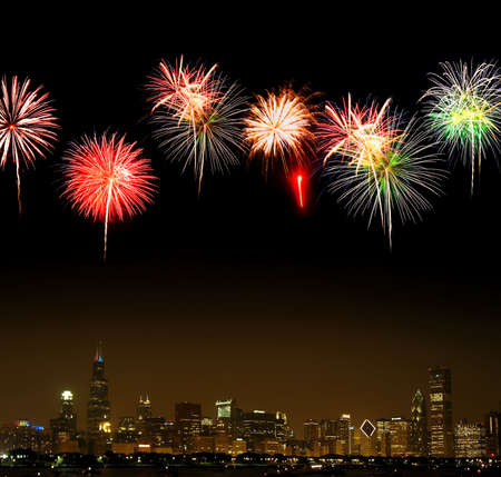 illinois river: Chicago Skyline at night - with firework illustration