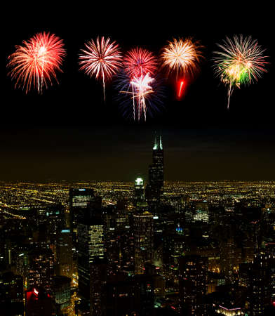 illinois river: Aerial view of Chicago cityscape at night - with firework illustration